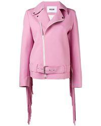 MSGM Байкерская Куртка С Бахромой - Розовый