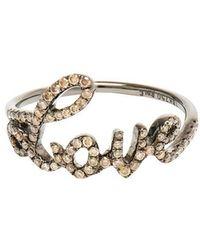 Rosa De La Cruz - Love 18k Oxidised Gold And Diamond Ring - Lyst