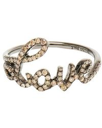 Rosa De La Cruz - Love 18k Oxidised Gold And Diamond Ring - Lyst