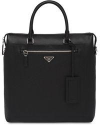 Prada Saffiano Leather Briefcase - Black