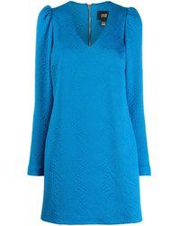 Class Roberto Cavalli Textured Puff-shoulder Dress - Blue