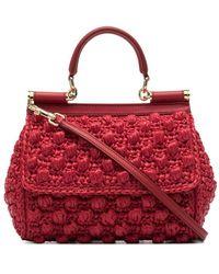 Dolce & Gabbana Sicily ラフィア クロシェ ハンドバッグ S - レッド