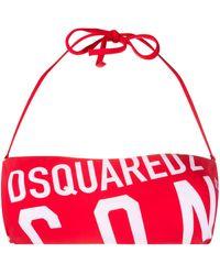 DSquared² Bandeau-Bikinioberteil mit Logo - Rot