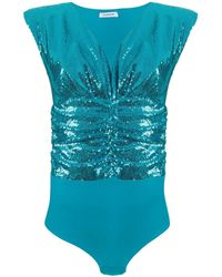P.A.R.O.S.H. Sequin-embroidered Ruched Body - Blue