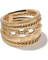 David Yurman Anello 'Stax' in oro giallo 18ct e con diamante - Metallizzato