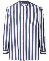 Salvatore Piccolo - Mandarin Neck Striped Shirt - Lyst