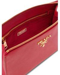 Prada Saffiano Leather Clutch - Rood