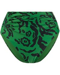Self-Portrait Купальник С Леопардовым Принтом - Зеленый