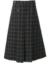 Mulberry Checked A-line Skirt - Blue
