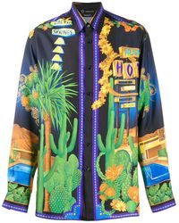 Versace Palm Springs-print Silk-twill Shirt - Blue