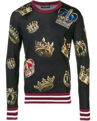 Dolce & Gabbana Pullover mit Kronen-Print - Schwarz