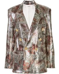 Rodarte Floral Double-breasted Blazer - Metallic