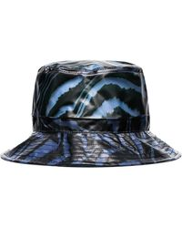 Ganni Blue And Black Animal Print Bucket Hat