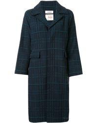 Coohem Long Sleeve Tartan Tweed Coat - Blue