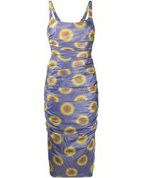 Maisie Wilen Ruched Gradient Polka Dot Dress - Purple
