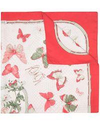 Hermès Pañuelo con estampado de mariposas pre-owned - Rojo