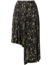Preen By Thornton Bregazzi Floral-print Asymmetric Skirt - Black