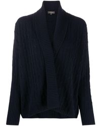 N.Peal Cashmere Shawl Collar Cashmere Cardigan - Blue