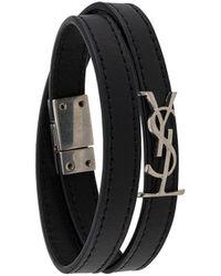 Saint Laurent Double Strap Bracelet - Black