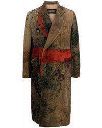 Uma Wang Manteau croisé à effet velours - Vert