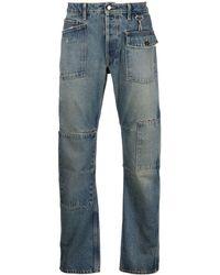 Reese Cooper Patchwork-design Straight-leg Jeans - Blue