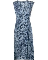 Ermanno Scervino Ruched Detail Leopard Print Dress - Blue