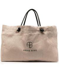 Anine Bing Saffron ロゴ ハンドバッグ - ブラウン
