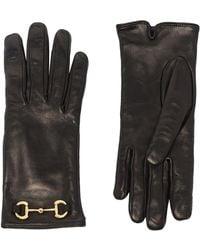 Gucci Gants en cuir à détail de mors - Noir