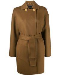 Versace Двубортное Пальто С Поясом - Многоцветный