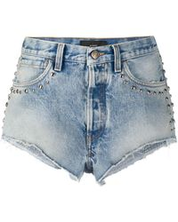 Alanui Stone Wash Denim Shorts - ブルー