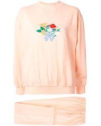 Hermès Комплект Из Брюк И Толстовки С Вышивкой - Розовый