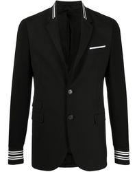Neil Barrett Striped Ribbed Trimming Blazer - Black