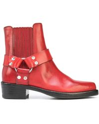 RE/DONE Leather Stirrup Ankle Boots - Red