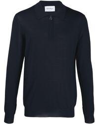 Ferragamo Gancini Zip-up Collar Knitted Sweater - Blue