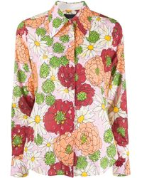 Marc Jacobs Metallic-thread Floral Silk Shirt - Pink