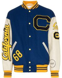 CALVIN KLEIN 205W39NYC C-patch Wool And Leather Varsity Jacket - Blue