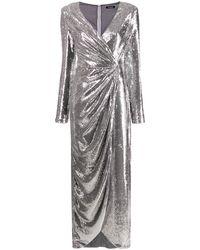 P.A.R.O.S.H. Платье Асимметричного Кроя С Длинными Рукавами - Металлик