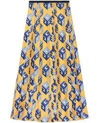Gucci Gg Wallpaper Print Silk Skirt - Multicolour