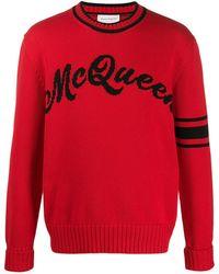 Alexander McQueen Джемпер Вязки Интарсия С Логотипом - Красный