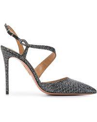 Aquazzura Metallic Jacquard Pointed Toe Court Shoes - Black