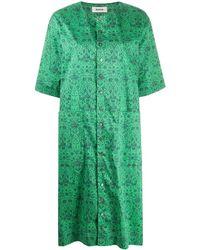 Zucca Vestido con botones y estampado floral - Verde