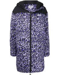 Fila Стеганое Пальто С Леопардовым Принтом - Пурпурный