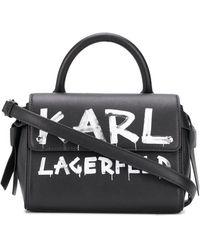 Karl Lagerfeld K/ikon Graffiti Mini Top Handle Bag - Black