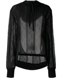 Ann Demeulemeester Floral Lace Hoodie - Black