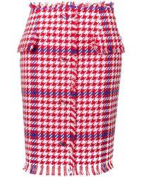 MSGM Houndstooth Print Pencil Skirt - White