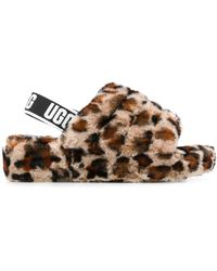 UGG Ciabatte Fluff Yeah con stampa - Marrone