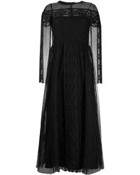 RED Valentino - Длинное Платье Из Тюля В Технике Макраме - Lyst