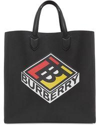 Burberry Grand sac tote en cuir grainé avec logo - Noir