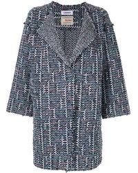 Coohem Spring Air Tweed Coat - Blue