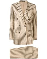 Tagliatore Striped Two-piece Formal Suit - Natural